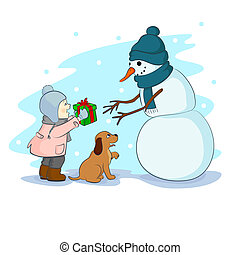 gift for snowman - a little girl with a dog gives a gift for...