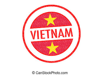 VIETNAM - Passport-style VIETNAM rubber stamp over a white...