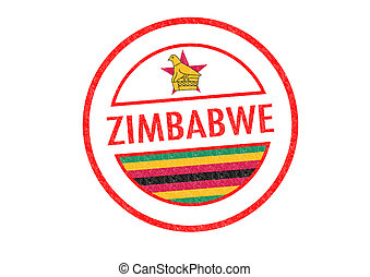 ZIMBABWE - Passport-style ZIMBABWE rubber stamp over a white...