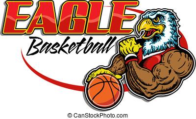 águia, basquetebol, jogador, desenho