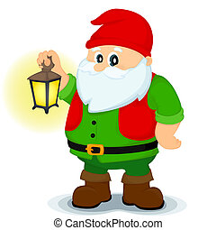 gnome - bearded dwarf in a red cap holding a glowing lantern