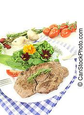 fresh Sirloin steak with wild herb salad