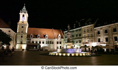 BRATISLAVA, SLOVAKIA - JULY 23: Central square at night in Bratislava, Slovakia, July 23, 2013. Bratislava is the most populous (462,000) and most visited city in Slovakia.