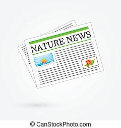 Nature News Newspaper Headline Vector Illustration