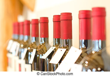 Bottles of red wine in the store