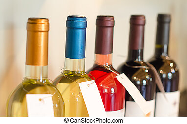 Different bottles of wine in the store