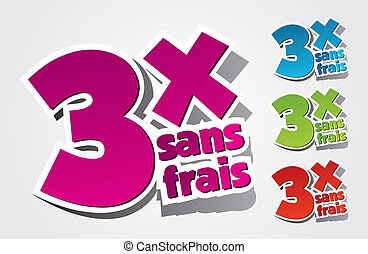 Pay By Three Times Icons vector illustration