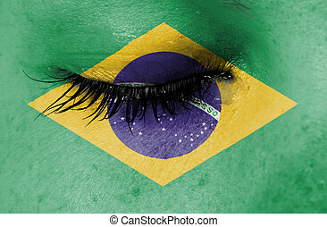 Crying woman, pain and grief concept, flag of Brazil