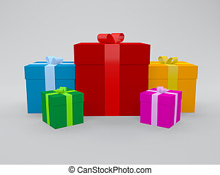 3d gifts in multi color packing