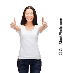 smiling woman in white t-shirt showing thumbs up - t-shirt...