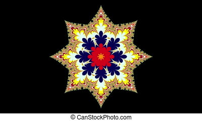 Star changing color, with matte - Fractal eight-pointed...