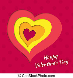 Vector background on Valentine's Day with layered heart
