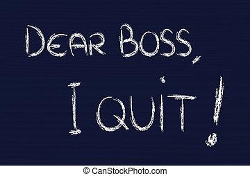querido, saliência, i, quit:, infeliz, empregado,...