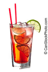 Red alcoholic coctail - Red alcoholic cocktail (vodka with...