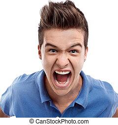 enojado, hombre, gritos