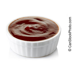 Bowl of barbecue sauce on white background
