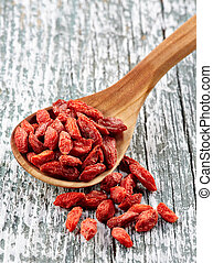 Dried goji berries - Spoon of dried goji berries