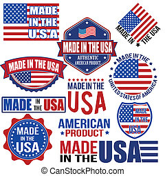 Made in the USA graphics and labels - Set of various Made in...