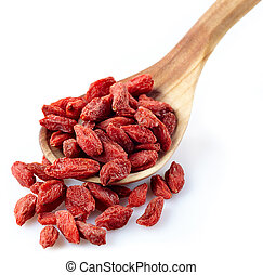 Dried goji berries - Wooden spoon of dried goji berries