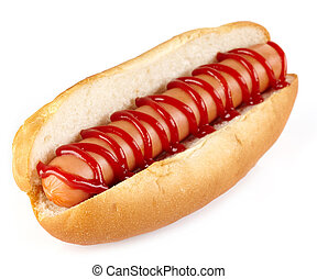 Hot dog with ketchup on white background