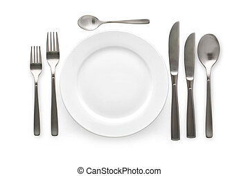 cutlery set - Place setting with plate, knife and fork. on...