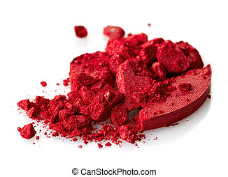 Eye shadows - Red crushed eye shadows on white background