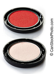 Eye shadows - Pink and red eye shadows on white background