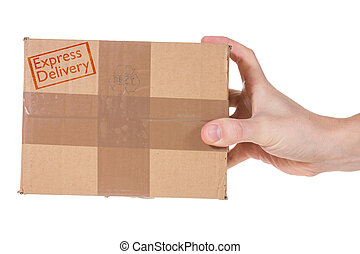 Express Delivery. Hand with package parcel isolated on white...