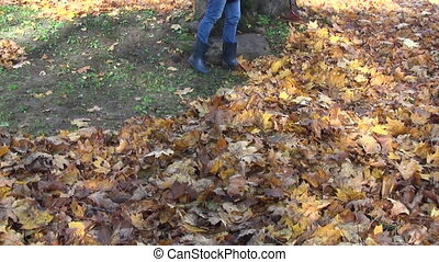 girl rake dry leaves - girl raking autumn yard thick coat...