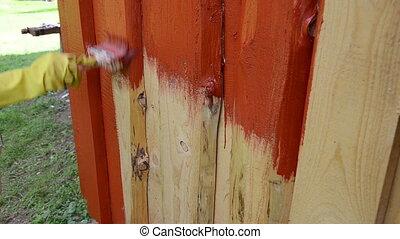hand brush paint wall