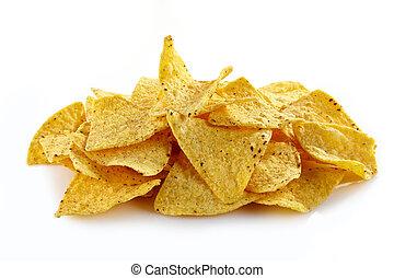 Nachos - Mexican nachos on white background