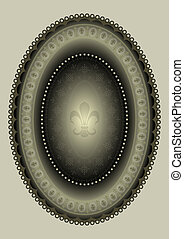 Oval frame  with heraldic lily