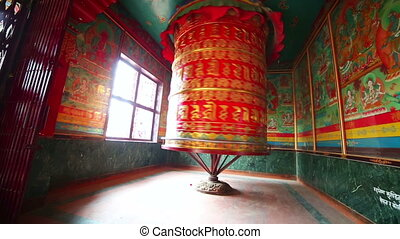Prayer wheel at Boudhanath, Kathmandu, Nepal - Prayer wheel...