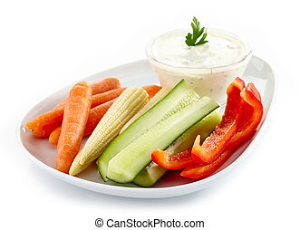 Fresh vegetables and garlic dip - Plate of fresh vegetables...