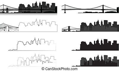 New York city silhouette - silhouette of city in eps format