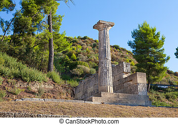 Olympia Greece ruins - Stone column and ruins Olympia Greece