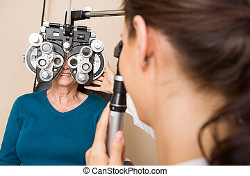 Optometrist, Examining, Patient's, Vision