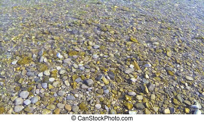 throw stones - Pebbles are thrown into a river.