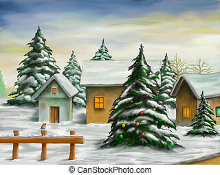 Christmas landscape - Small village in a snowy christmas...