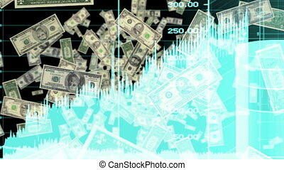 Money and Graphs in the Blue Looping Animated Background