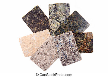 granite kitchen worktop samples isolated on white