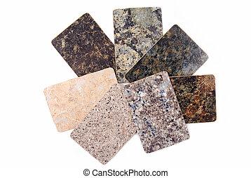 granito, cocina, encimera, muestras, aislado, blanco