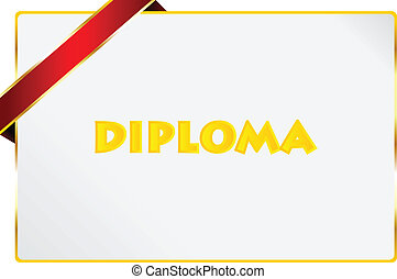 Diploma Of Excellence Certificate Vector Illustration