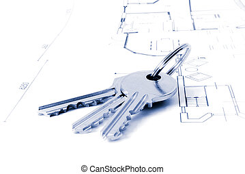 keys on an architecture-plan - keys on a floor-plan or...