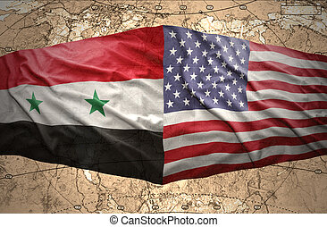 Syria and United States of America - Waving Syrian and...