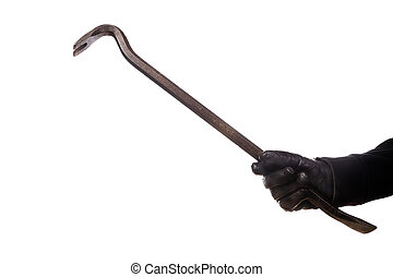 burglar with crowbar isolated on a white background