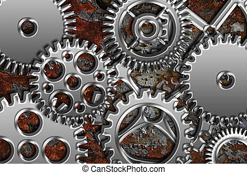Chrome Gears on Grunge Texture Background - Chrome Silver...