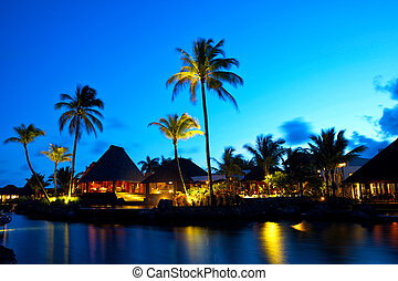 Luxury sunset in Mauritius - Sunset time in luxury resort in...
