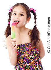 Girl with water ice cream - Girl licking the water ice...