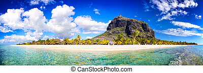 Mauritius beach panorama - White sand beach and Le Morne...